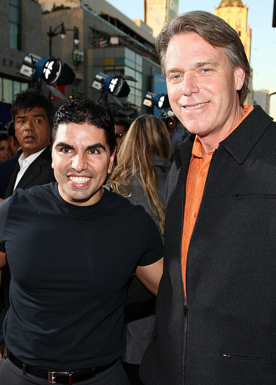 ". HOLLYWOOD - SEPTEMBER 18:  Radio personality Eddie ""Piolin\"" Sotelo and director Raja Gosnell arrive at the world premiere of Walt Disney Pictures\' \""Beverly Hill Chihuahua\"" held at the El Capitan Theatre on September 18, 2008 in Hollywood, California.  (Photo by Alberto E. Rodriguez/Getty Images)"