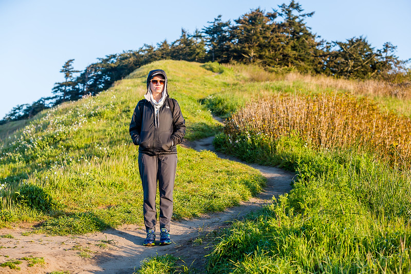 Michele on the Pacific NW Trail on Whidbey Island.