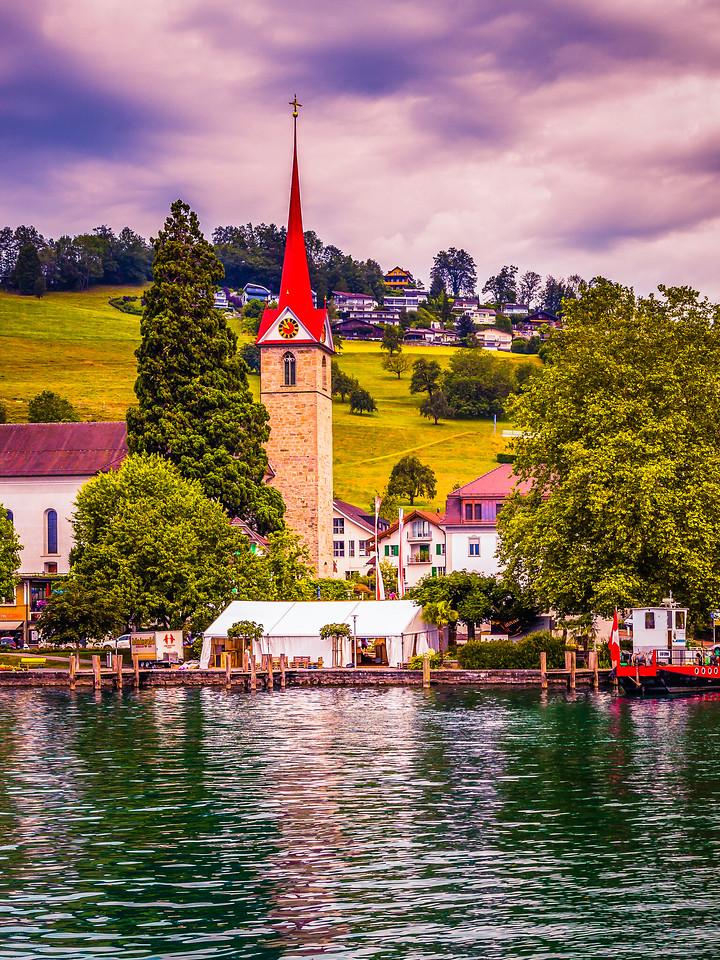 瑞士卢塞恩(Lucerne),湖岸风貌