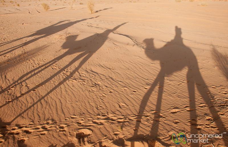 Shadows of a Small Camel Caravan in Wadi Rum, Jordan