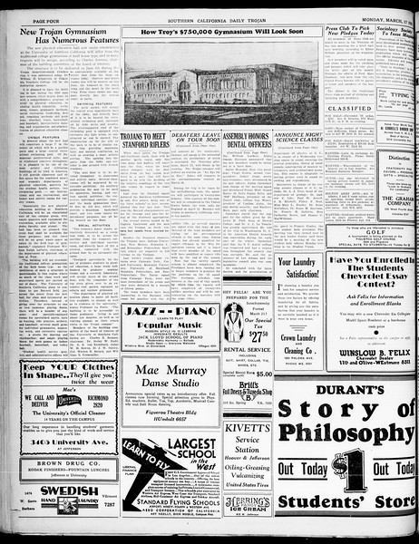 Southern California Daily Trojan, Vol. 21, No. 103, March 17, 1930