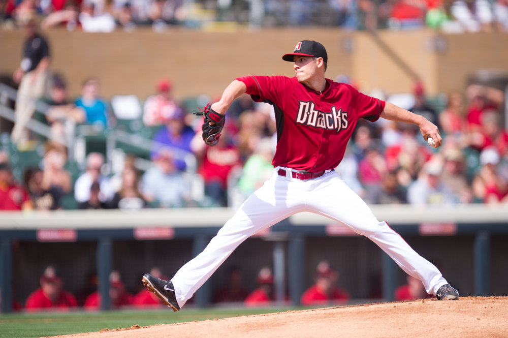 . Patrick Corbin #46 of the Arizona Diamondbacks pitches during a spring training game against the Colorado Rockies at Salt River Fields at Talking Stick on February 28, 2014 in Scottsdale, Arizona. (Photo by Rob Tringali/Getty Images)
