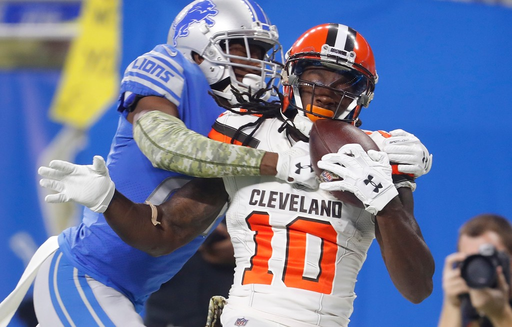 . Cleveland Browns wide receiver Sammie Coates (10), catches a pass while defended by Detroit Lions cornerback Nevin Lawson (24) during the first half of an NFL football game, Sunday, Nov. 12, 2017, in Detroit. (AP Photo/Paul Sancya)