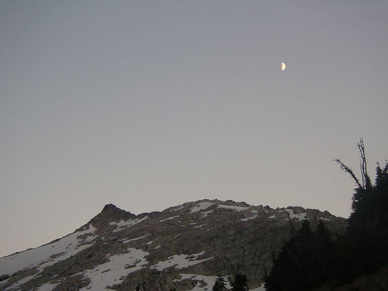 Moon above Hidden Peak.