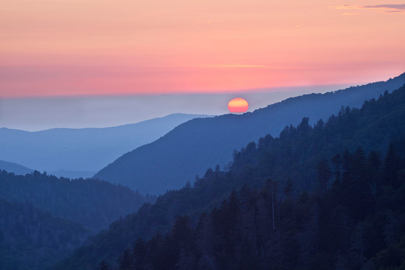 Smoky Mountains blue hills and sun