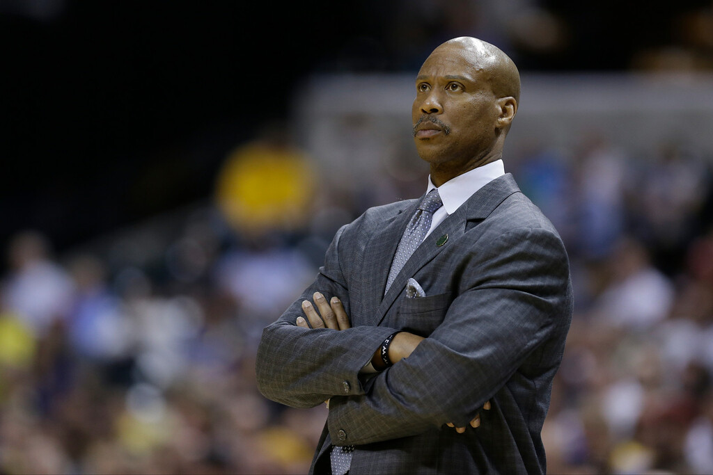 . Cleveland Cavaliers head coach Byron Scott in the second half of an NBA basketball game against the Indiana Pacers in Indianapolis, Tuesday, April 9, 2013. The Pacers defeated the Cavaliers 99-94. (AP Photo/Michael Conroy)