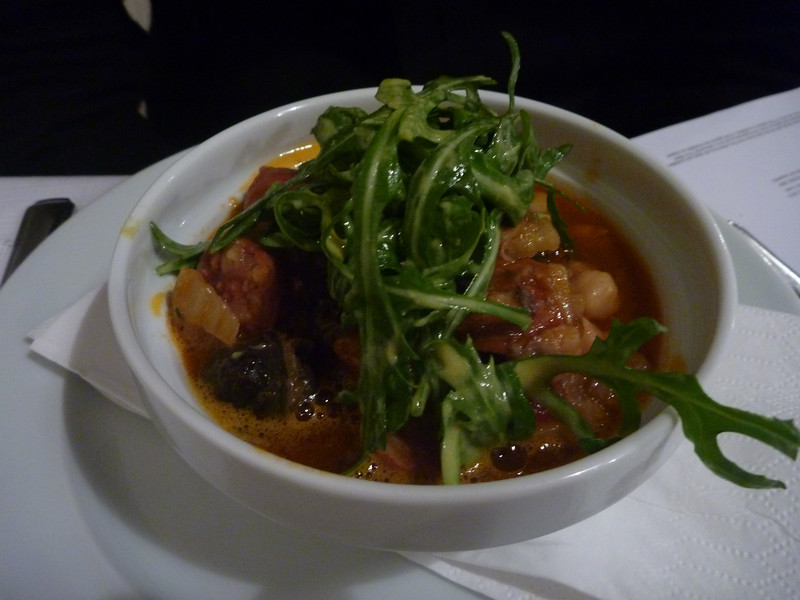 chorizo and white bean stew over duck fat toast