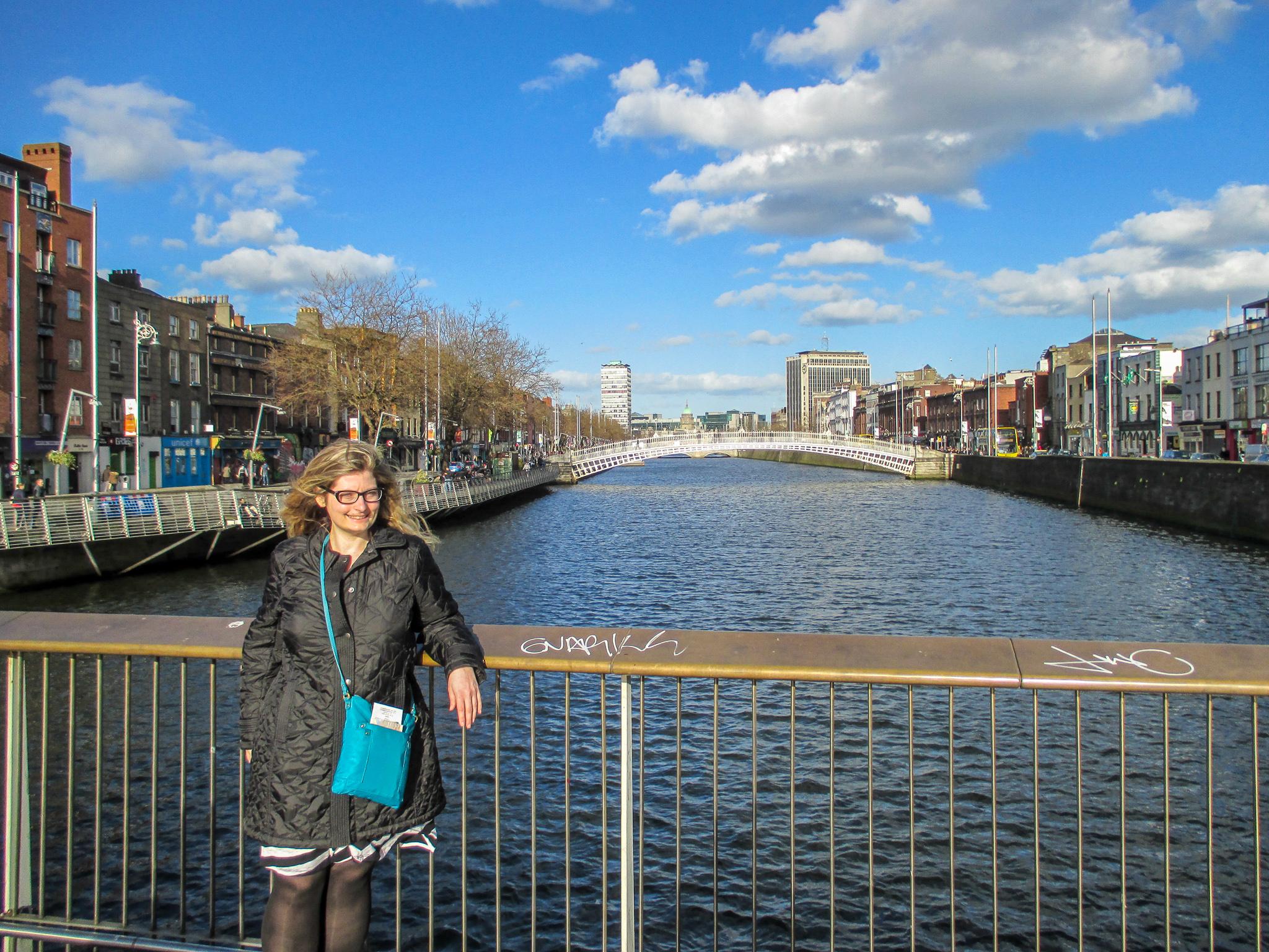 solo female travel dublin: chilling on a bridge alone