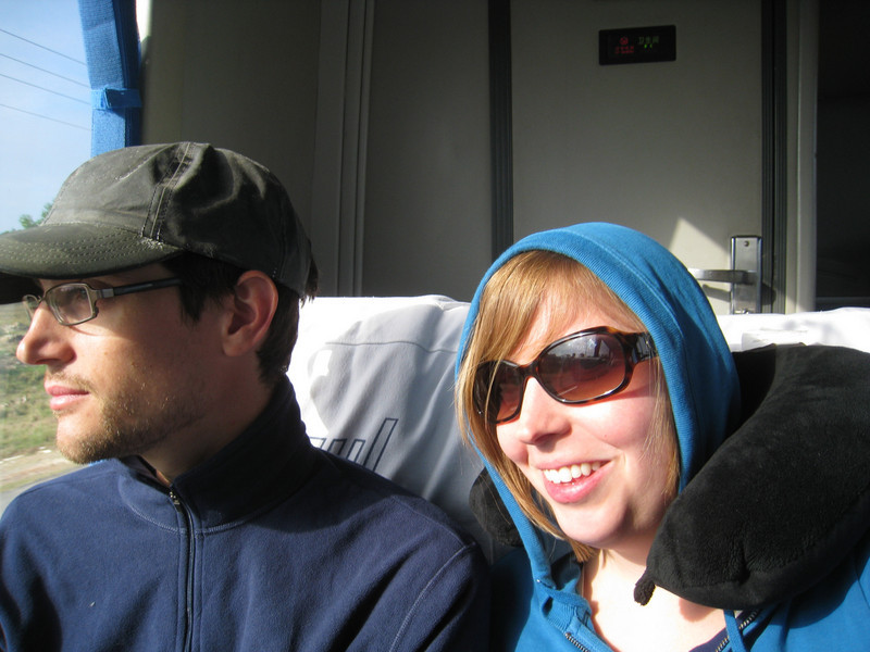 Viazul tends to overly air-condition their buses.. we were freezing hence the hoodie and huddling!