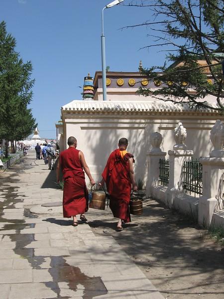 Monks at Gandan Monastery - Leslie Rowley