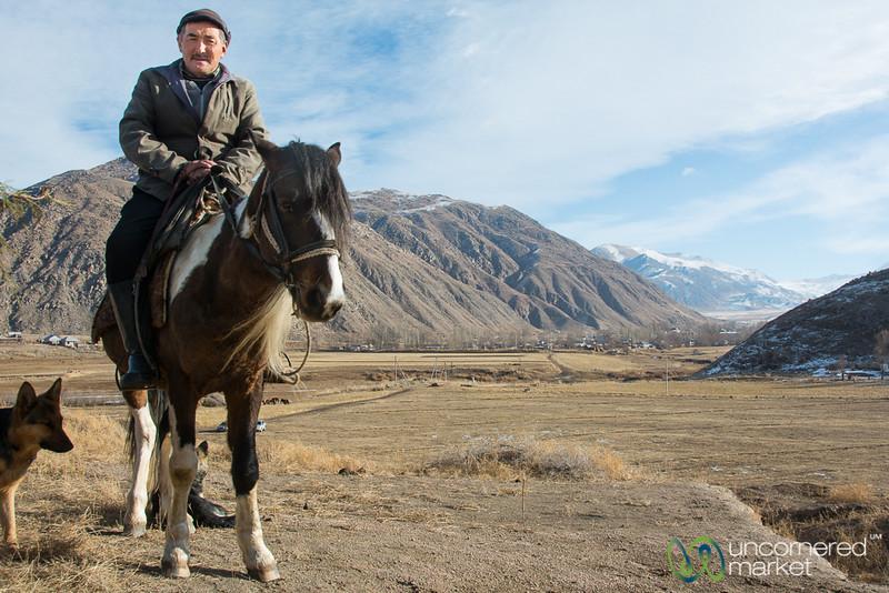Kyrgyz Shepherd at Khan-Dobo Citadel - Southern Shore Issyk-Kul, Kyrgyzstan