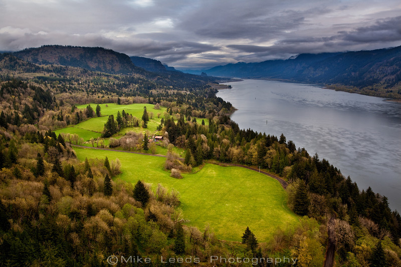 View from Cape Horn looking down the Columbia River Gorge on an April afternoon.