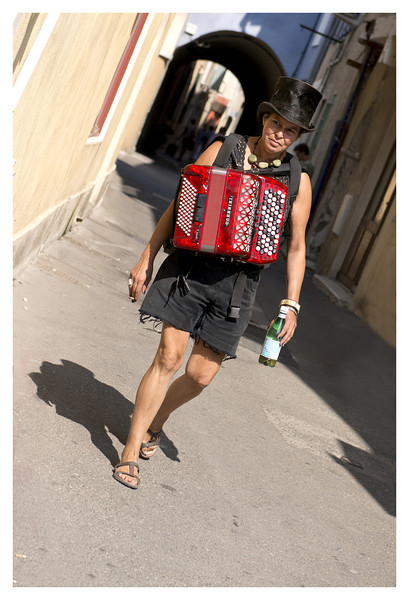 Loved the look of this accordian player just strolling down the lane.