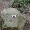 dragonfly sculpture on rock