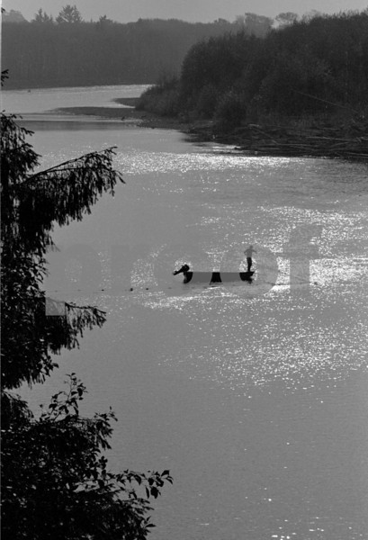 Tribal salmon fishing in the Queets River, WA State. Photo taken on Spe. 13, 1979.