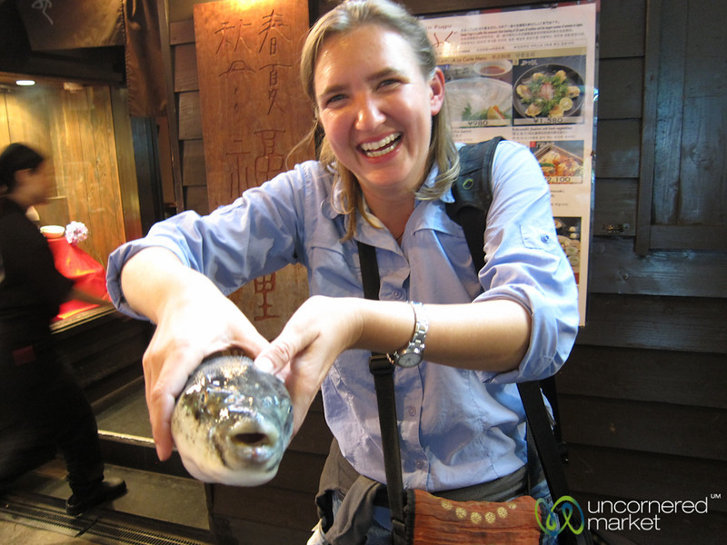Audrey Holding the Blowfish (Fugu) - Osaka, Japan