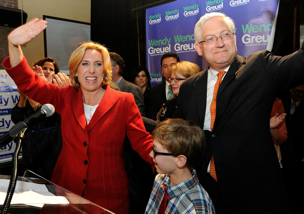 . Wendy Greuel with her husband Dean Schramm and son Thomas Schramm,9. Greuel held her election night party at the Los Angeles Brewing Company in downtown Los Angeles, CA 3/5/2013(John McCoy/Staff Photographer)