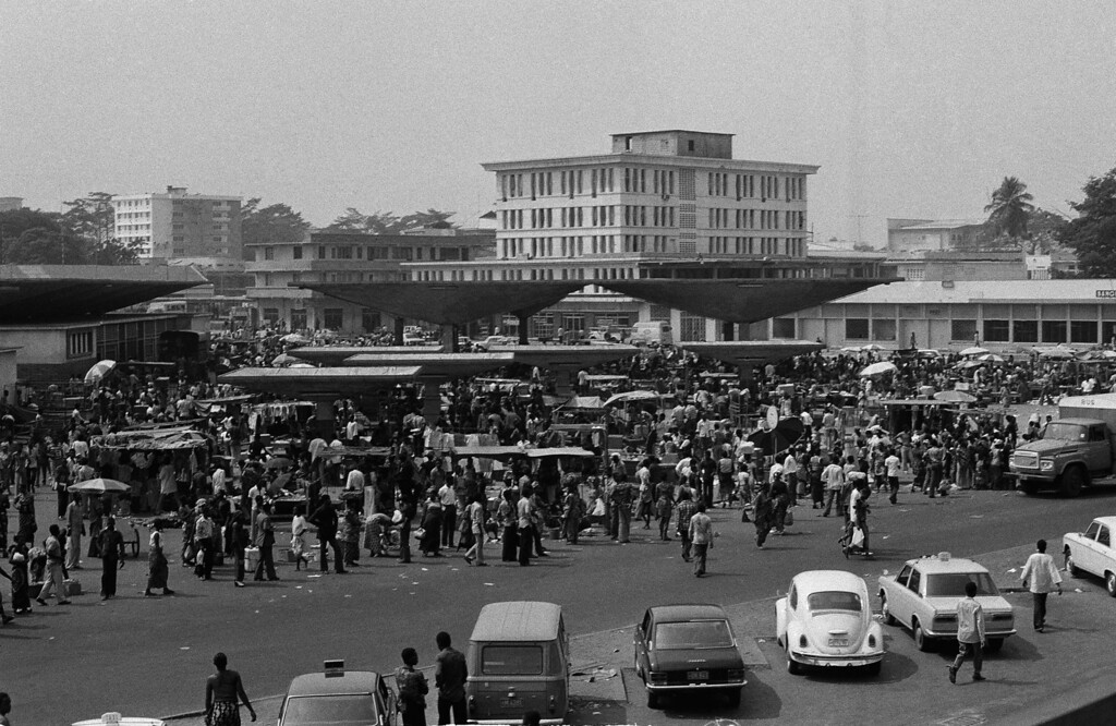 . This is a general view of the central market place on  August 27, 1974  in Kinshasa, the capital city of the African nation of Zaire.    Kinshasa will be the scene for the upcoming bout between world heavyweight boxing champion George Foreman and challenger Muhammad Ali.   The fight scheduled for September 1974 had to be rescheduled to October 30, 1974 after Foreman needed to recover from an eye injury during training.                                             (AP Photo)