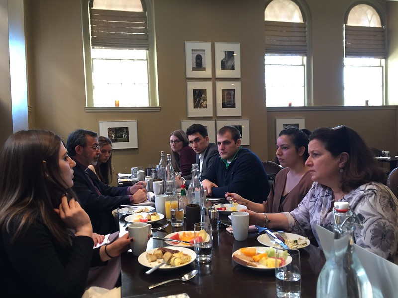 The Primate and Yn. Arpi Kouzouian, Youth Director, conversing with the ACYOA Seniors over breakfast on Saturday morning, March 18.