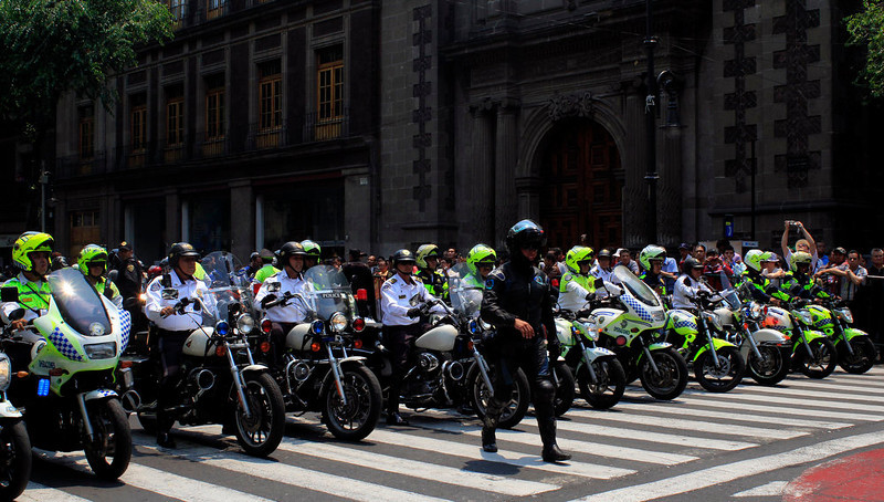 . Picture of part of the safety convoy of US President Barack Obama as he is driven through Mexico City, on May 2, 2013. Obama landed in Mexico on Thursday at the start of a three-day trip that will also take him to Costa Rica, with trade, US immigration reform and the drug war high on the agenda. The runways of Mexico City\'s international airport closed for half an hour to let Air Force One land, and Obama was scheduled to head to the historic National Palace downtown for talks with Mexican President Enrique Pena Nieto.   HECTOR GUERRERO/AFP/Getty Images