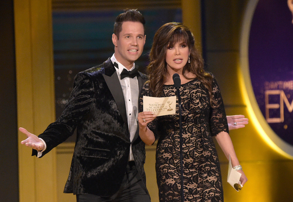 . Marie Osmond, right, and David Osmond present the award for outstanding entertainment talk show at the 45th annual Daytime Emmy Awards at the Pasadena Civic Center on Sunday, April 29, 2018, in Pasadena, Calif. (Photo by Richard Shotwell/Invision/AP)