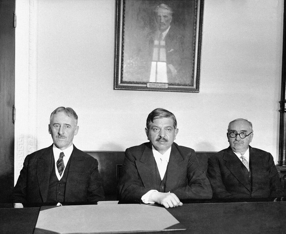 . 1931: Pierre Laval. Premier Pierre Laval of France visited Secretary of State Henry L. Stimson at the State Department in Washington on Oct. 23, 1931 during the course of a busy day. They talked together for some time, seated at a table in Secretary Stimson�s office. From left to right are Secretary Stimson, Premier Laval and Paul Claudel, French Ambassador to the United States. (AP Photo)