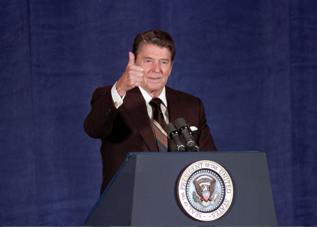 . President Ronald Reagan gives thumbs up sign during a speech in Oklahoma City in this June 6, 1985 file photo. (AP Photo/File)