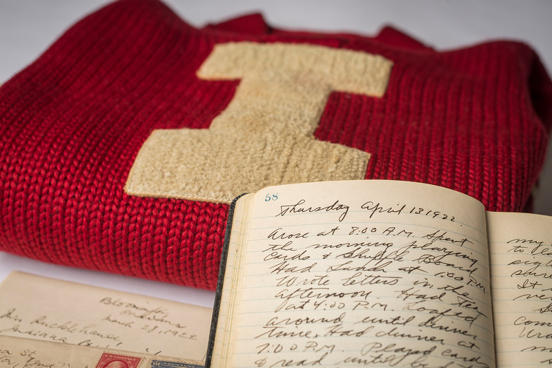 IU letterman's jacket and journal from IU Baseball's trip to Japan, ca. 1922