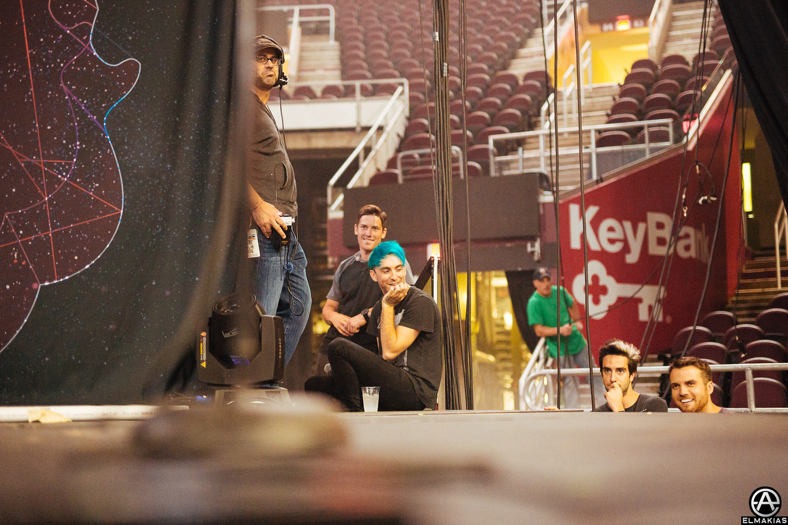 All Time Low hanging sidestage during rehearsals for the Alternative Press Music Awards 2015