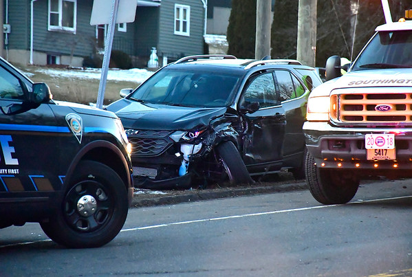 2/21/2019 Mike Orazzi | Staff The scene of multi-vehicle crash on West Street in Southington during the evening commute.