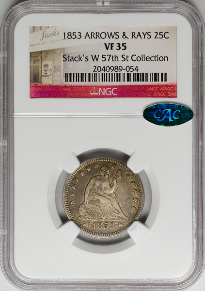1853 25C QUARTER DOLLAR - SEATED LIBERTY, ARROWS & RAYS NGC VF35 2040989-054 CAC Obv Slab.jpg