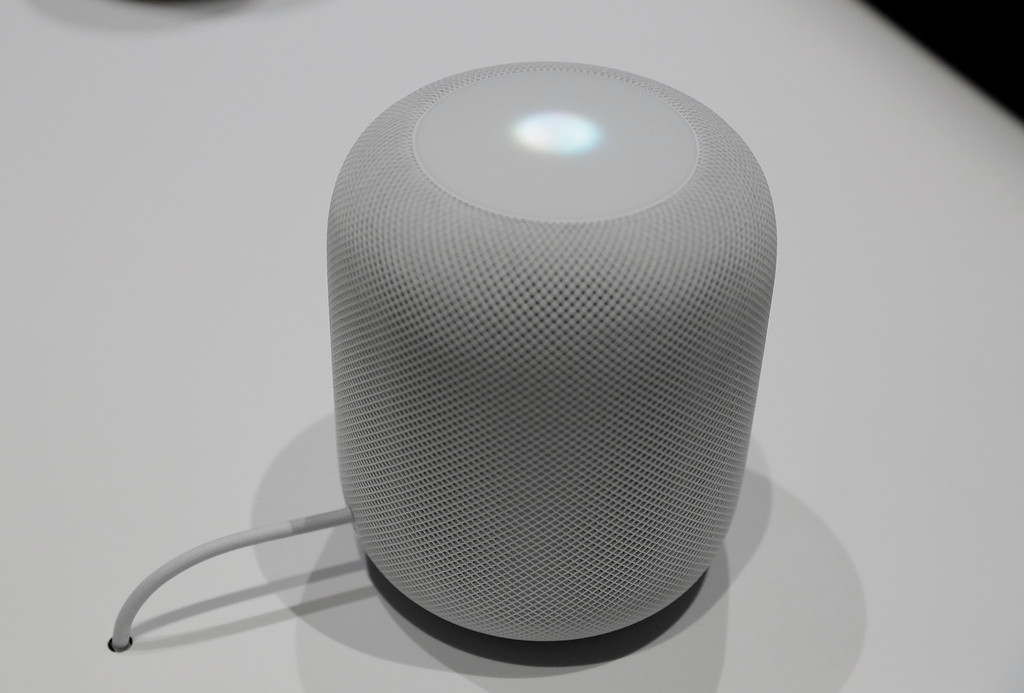 . The HomePod speaker is seen in a showroom during an announcement of new products at the Apple Worldwide Developers Conference Monday, June 5, 2017, in San Jose , Calif. (AP Photo/Marcio Jose Sanchez)