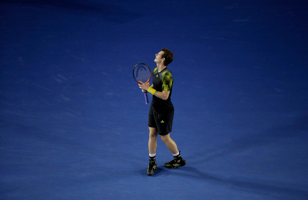 . Britain\'s Andy Murray reacts during the men\'s final against Serbia\'s Novak Djokovic at the Australian Open tennis championship in Melbourne, Australia, Sunday, Jan. 27, 2013.(AP Photo/Rob Griffith)