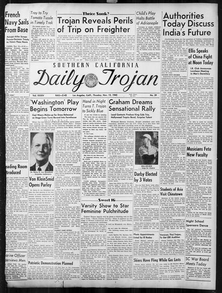 Daily Trojan, Vol. 34, No. 39, November 12, 1942