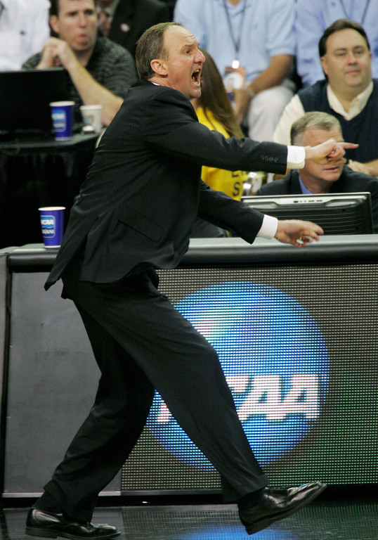 . Ohio State coach Thad Matta yells at his team during the second half of a Final Four semifinal basketball game against Georgetown at the Georgia Dome in Atlanta, Saturday, March 31, 2007. (AP Photo/John Bazemore)
