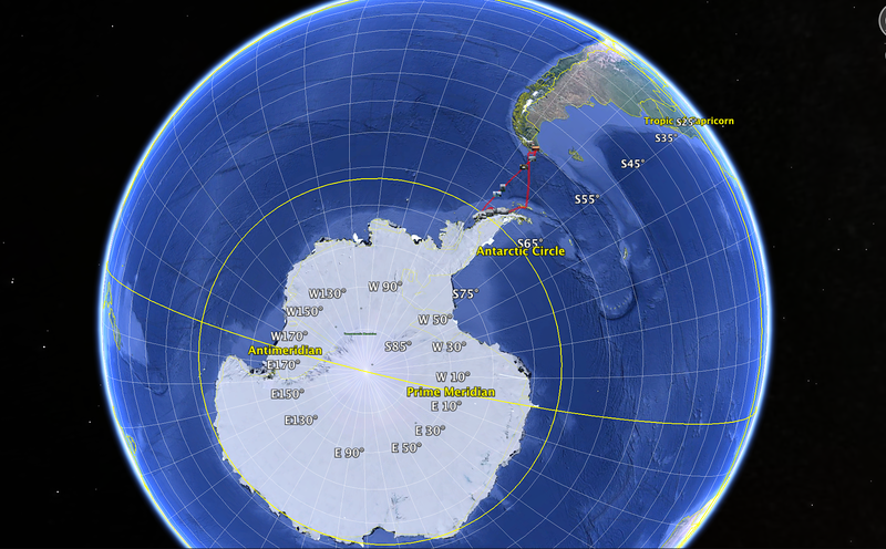 GPS track on Akademik Sergey Vavilov, below the Antarctic Circle Trip, Jan 2013
