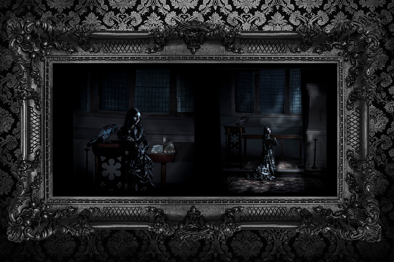 The Crow's Sermon and Gospel according To Crow framed  in an ornate thick black frame