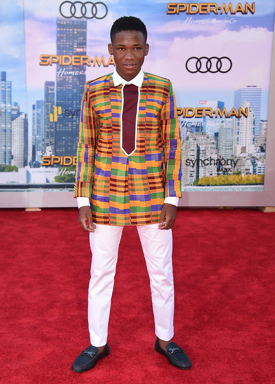 """. Abraham Attah arrives at the Los Angeles premiere of \""""Spider-Man: Homecoming\"""" at the TCL Chinese Theatre on Wednesday, June 28, 2017. (Photo by Jordan Strauss/Invision/AP)"""