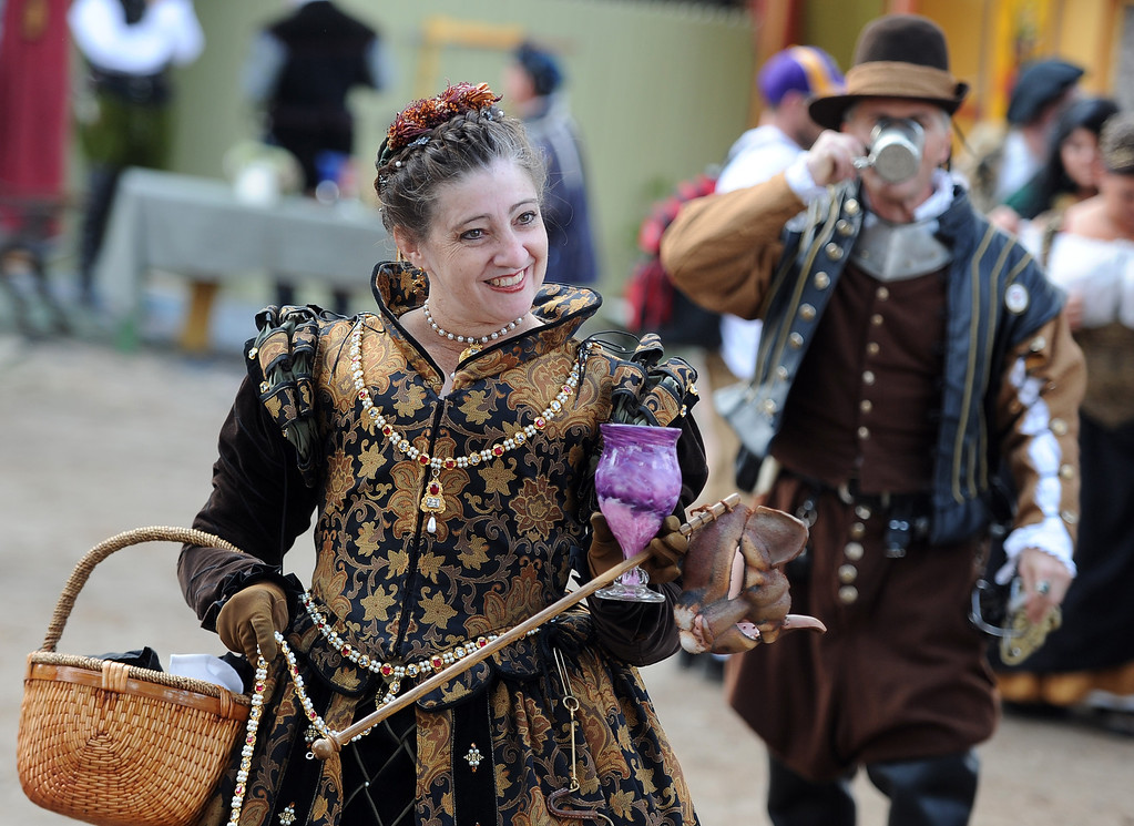. Locals dress in period costumes on opening day of the Renaissance Pleasure Faire at Santa Fe Dam Recreation Area in Irwindale, Calif., on Saturday, April 5, 2014. 