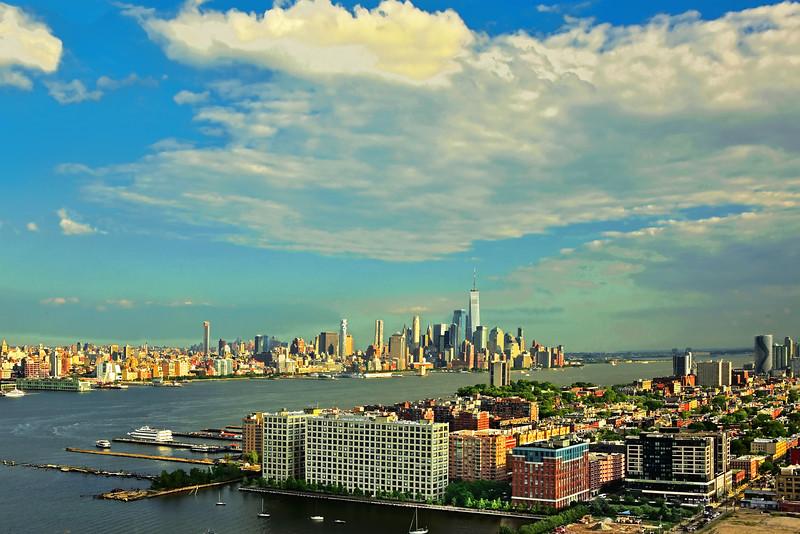 NY-NJ Hudson River under Summer Skies