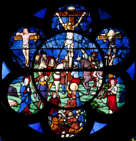Chalons-en-Champagne Cathedra,-The Passion Window Crucifixion