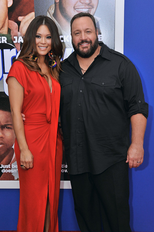 """. Steffiana de la Cruz (L) and actor Kevin James attend the \""""Grown Ups 2\"""" New York Premiere at AMC Lincoln Square Theater on July 10, 2013 in New York City.  (Photo by Stephen Lovekin/Getty Images)"""