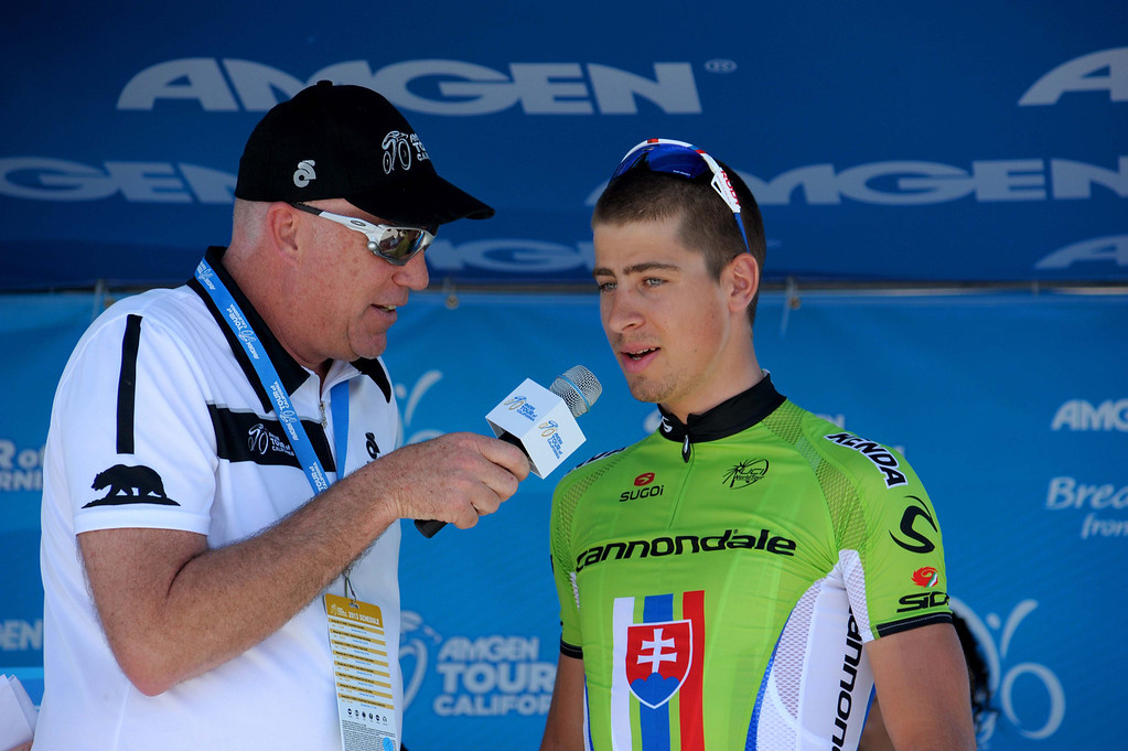 . Peter Sagan being interviewed before the race. (Robert Torre/Special to the Sentinel)
