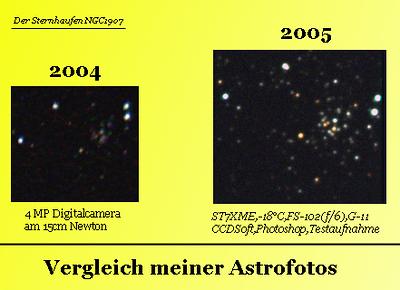 2005 NOV: Farbige, kreisrunde Sterne im NGC1907 zu sehen