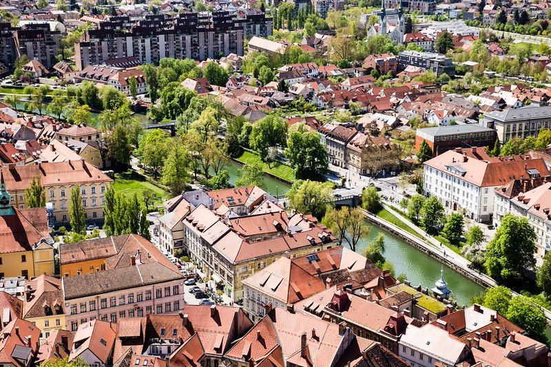 Looking down onto the red roofs of Ljubljana, Slovenia.