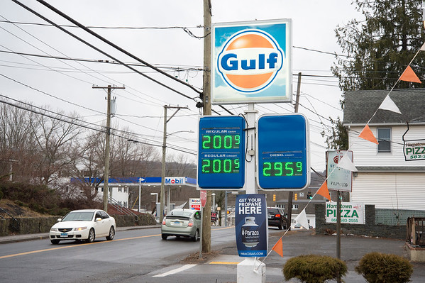 02/10/20 Wesley Bunnell | StaffrrCars lined up to take advantage of sub two dollar a gallon regular gas prices at the Gulf and CITGO Stations on Main St in the Terryville section of Plymouth.