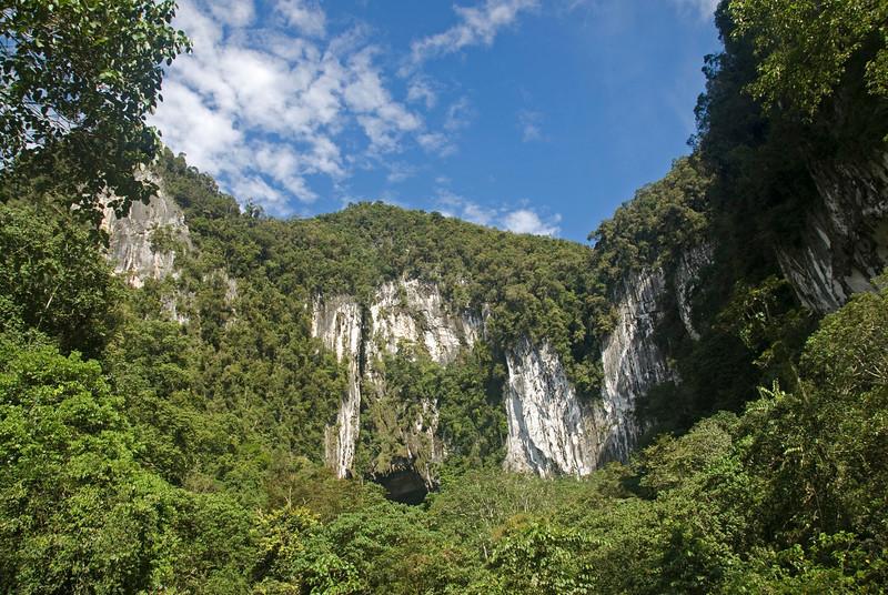 Beautiful shot of the Deer Cave entrance at Mulu National Park - Sarawak, Malaysia