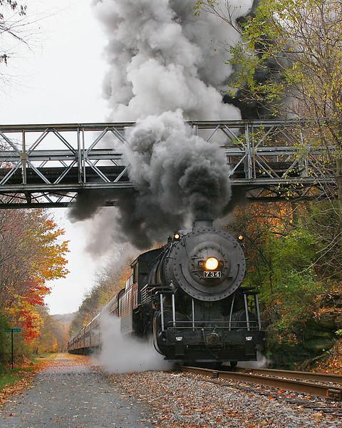 WMSR #734 passes under the Parkersburg Road bridge Western Maryland Scenic Railroad