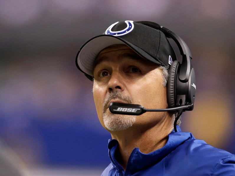 . Indianapolis Colts head coach Chuck Pagano watches a replay during the first half of an NFL football game against the Philadelphia Eagles Monday, Sept. 15, 2014, in Indianapolis. (AP Photo/AJ Mast)