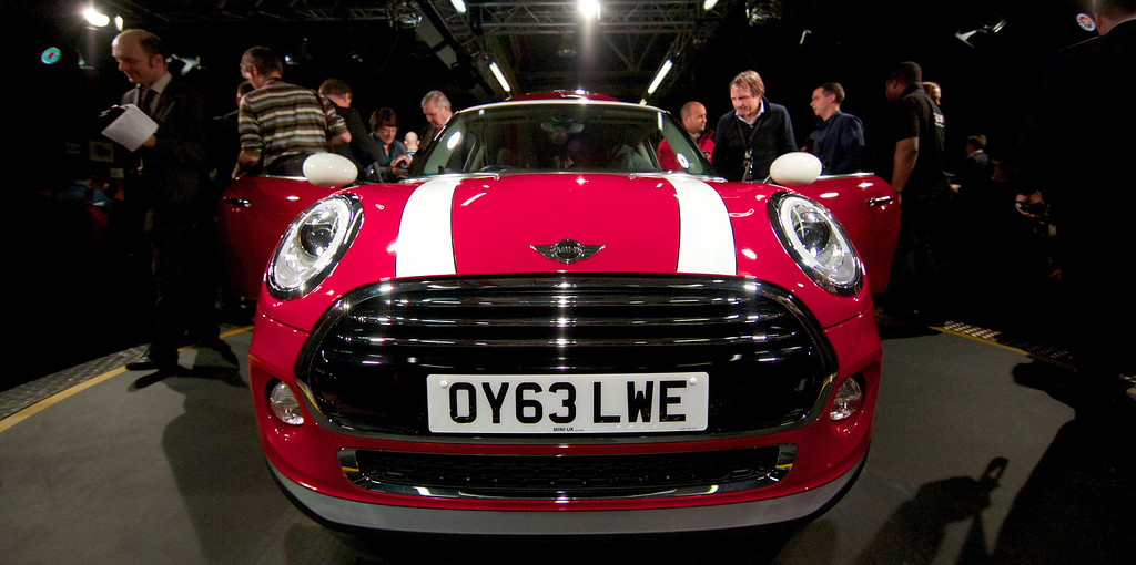 . The new Mini Cooper car is pictured during its official unveiling at BMW\'s plant at Cowley in Oxford, central England, on November 18, 2013. Car giant BMW, which has been manufacturing the Mini since 2001, has finally taken the wraps off the  new Mini that will be available in the UK in Spring 2014. ANDREW COWIE/AFP/Getty Images
